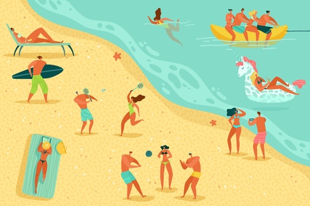 Les gens de la plage se détendent. Personnes nager bronzer femmes hommes enfants jeux d'eau mer océan famille vacances d'été bronzer se détendre, concept de vecteur plat Vecteurs