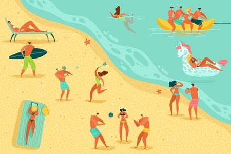 Beach people relaxing. Persons swim sunbathing women men kids water games sea ocean family summer vacation sunbathe relax, flat vector concept