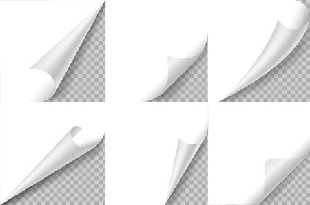 Gewellte Ecken eingestellt. Ecke der Papierseite kräuseln, Blatt drehen und falten. Aufkleber geschweifter Winkel, Notizblock mit gebogenem Rand. Realistisches Vektordesign mit quadratischer Kante Vektorgrafik