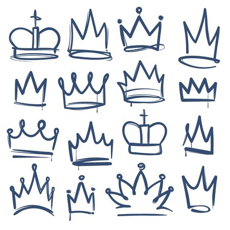 Doodle crown. Kingdom tiaras crowns king queen corona princess diadem sketch doodle drawn royal jewel imperial coronation, aristocracy vector set Illustration