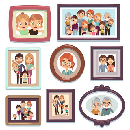 Family portrait photos. Pictures people photo frame happy characters relatives dynasty parents kids relationship, nostalgia framed photography flat vector template Vektoros illusztráció