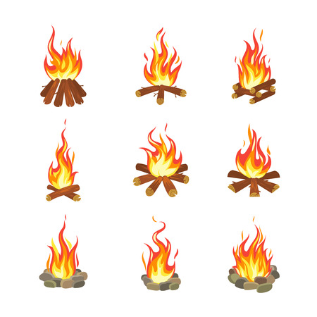 Cartoon bonfire. Tourist summer campfires flame, firewood torch fireplace burning stacked wood flat gaming design. Fire vector illustration