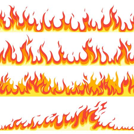 Seamless fire flame. Fires flaming pattern, flammable line blaze hot temperature, gas blazing wallpaper cartoon vector firewall textured frames set Ilustrace