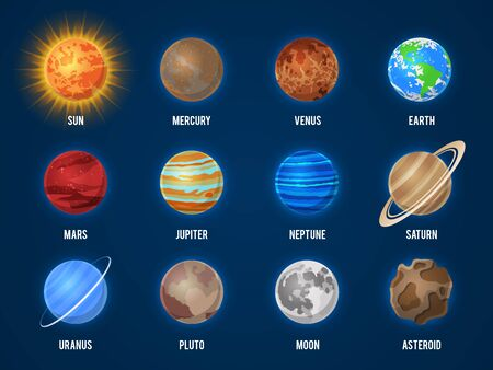 Solar system cartoon planets. Cosmos planet galaxy space orbit sun moon jupiter mars venus earth neptune mercury universe vector astronomy set
