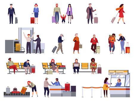 Conjunto de aeropuerto de personas. Registro de viajes familiares control de pasaportes puesto de control seguridad terminal del aeropuerto equipaje que viaja pasajeros vector colección aislada