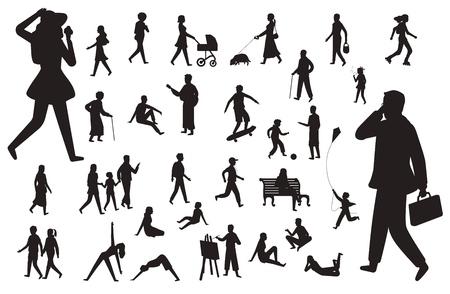 Caminar silueta de personas. Figuras negras de niños felices mujer joven con cochecito y perro, hombre trabajador y persona que camina vector conjunto aislado