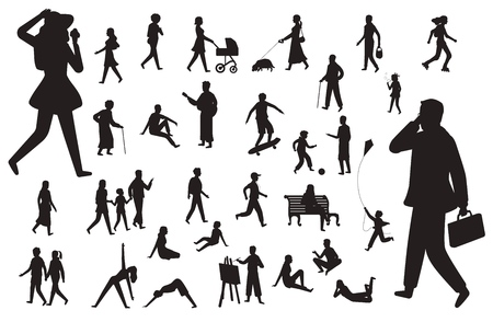 Walk people silhouette. Black figures of happy children woman young lady with pram and dog, working man and walking person vector isolated set