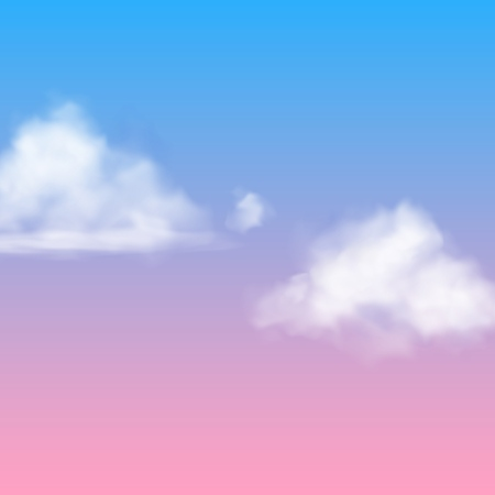 Realistic cloud. White nubes fluffy sky fog clouding isolated on sunrise or sunset blue pink background vector air heavenly concept