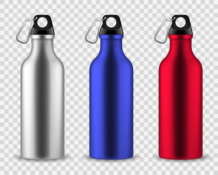 Metal water bottle. Drinking reusable bottles, drink aluminum flask fitness sports realistic stainless vector set isolated on transparent background Иллюстрация