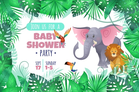 Tropical baby shower. Elephant lion in jungle, african young adorable wild animal and south palm tree leaves cartoon vector invitation card Illustration