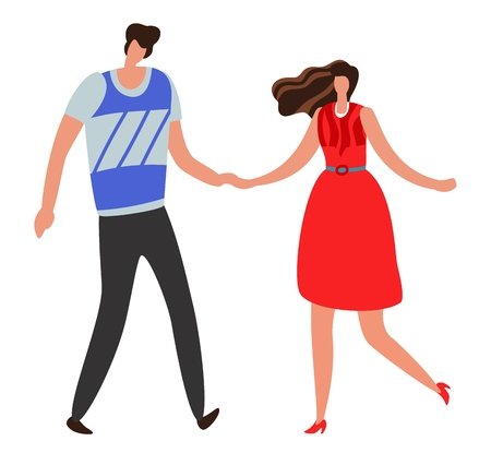 Girlfriend. Beautiful young couple and romantic boy and girl together. Happy cute relationship vector concept