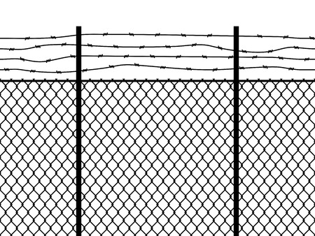Prison fence. Seamless pattern metal fence wire military wall linkage barbed border security perimeter grid, barbwire construction vector black texture Vector Illustratie