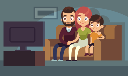Family watching tv. Happy family watch tv movie home room sitting couch woman man kids indoors entertainment television flat vector concept