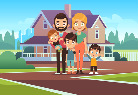 Family house. Happy young parents father mother son daughter kids outdoors front home building lifestyle. happiness purchase cartoon vector background