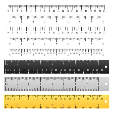 Measuring rulers. School ruler, metric scale measure inches measurement centimeter, precision tools length markup. Vector yardstick set