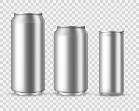Realistic aluminum cans. Blank metallic can drink beer soda water juice packaging 300 330 500 empty mock up aluminium container vector template