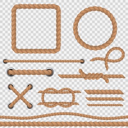 Corda marrone. Corde realistiche in corda marina, spago tondo nautico con cordino in canapa, bordo in iuta, cornice curva vintage. Insieme di vettore Vettoriali