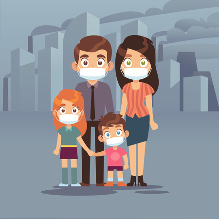 Family city smog. People protective face masks pollution air smog toxic industrial harmful waste dust mask n95 pm2, ecology contamination vector concept