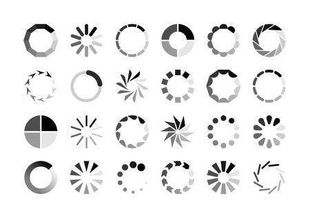Chargeur de cercle. Attendez la charge de l'interface du modèle de site Web du préchargeur de cercle de rotation mettant en mémoire tampon le téléchargement de téléchargement de gif en attente, le téléchargement d'icônes vectorielles d'indicateur