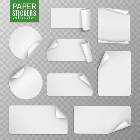 Paper stickers set. White label sticker page, blank badge bent note sticky banners curled corners wrapped sheets. Vektorové ilustrace