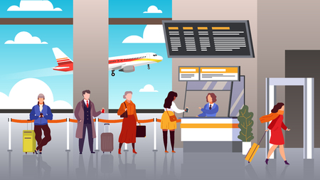 Airport registration. People queue departure passengers in line baggage register flight check terminal tourism airplane travel vector concept