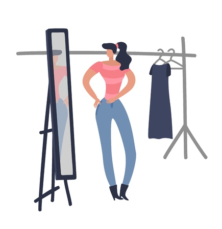 Women shopping. Girl is trying on fashion female cloth looking woman new design blue dress in shop boutique room flat vector illustration