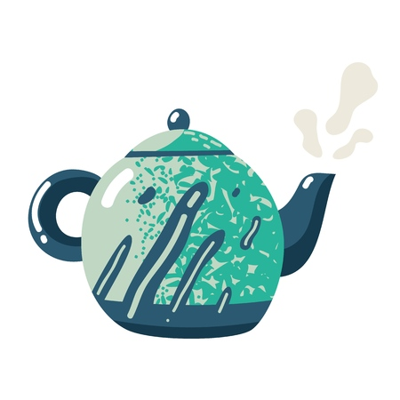 Flat teapot. Kettle ceramic crockery sign fresh pour kitchen lifestyle drink symbol with tea for home rustic kitchenware isolated icon  イラスト・ベクター素材