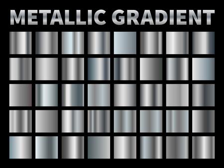 Dégradés métalliques. Feuille d'argent, cadre carré en ruban de bordure dégradée en métal gris brillant, plaque en aluminium chromé brillant avec reflet.