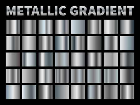 Metallic gradients. Silver foil, grey shiny metal gradient border ribbon square frame, aluminum shiny chrome plate with reflection.