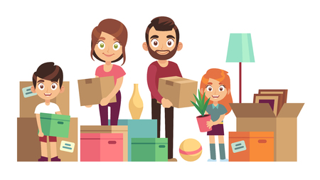 Family moving new home. Happy people packing unpacking boxes cardboard package deliver parents kids relocation house, flat vector design Stock Illustratie