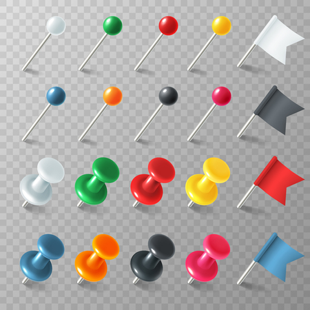 Pins flags tacks. Colored pointer eps marker pin flag tack pinned board pushpin organized announcement, color realistic vector set Illustration