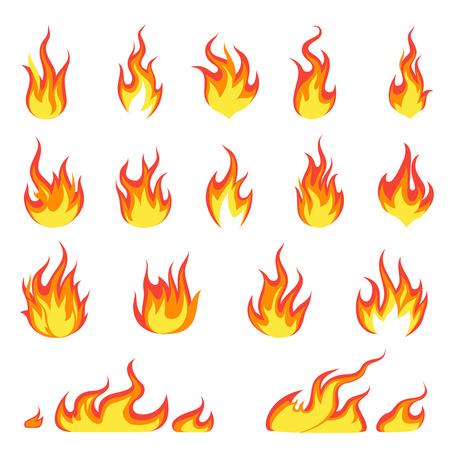 Llama de fuego de dibujos animados. Imagen de incendios, encendido en llamas calientes, llamas inflamables, explosión de calor, peligro, llamas, concepto de vector de energía Ilustración de vector