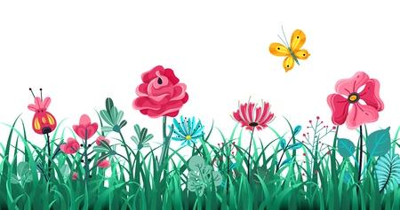 Blumengrasgrenze. Grüne Blumen Frühling blühendes Feld, Sommerwiese Natur, Panoramakräuter Makroelement Vektorkonzept Vektorgrafik