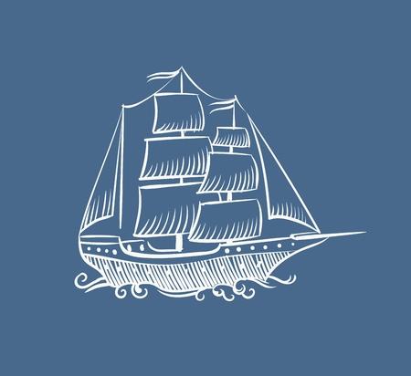 Croquis de bateau vintage. Vieux voilier de mer pirate dessiné à la main ou vecteur de navire doodle illustration de bateau à voile sur fond blanc