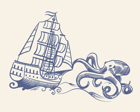 Octopus monster. Sketch sailboat vintage medieval pirate ship run away from kraken and waves nautical travel floating vessel ancient concept