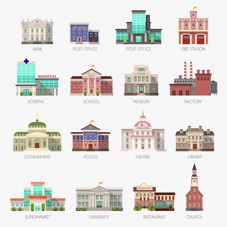 stad exterieur architectuur plat pictogrammen Vector Illustratie