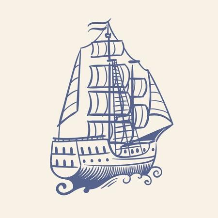 Croquis de voilier. Pirate médiéval vintage s'enfuyant navire et vagues concept de mer de tempête flottante de voyage nautique