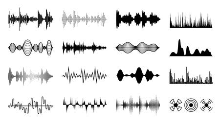 Sound waves set. Black digital radio musical wave. Audio soundtrack shapes. Player pulse amplitude forms isolated vector set Illustration