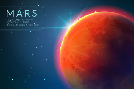 Mars background. Red planet with texture in outer space. Rising sun and mars galaxy landscape 3d concept 向量圖像