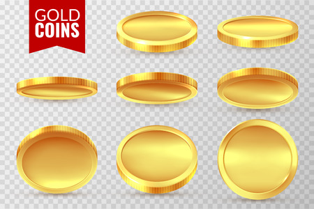 Gold coins set. Realistic golden coin, money cash finance payment symbols. Bingo jackpot casino 3d dollar isolated sings