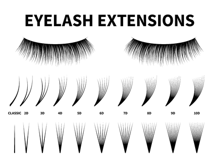 Eyelash extensions. Curling extension volume eyelashes, tweezers tool guide fake lash. Artificial lashes template makeup, makeup accessories design