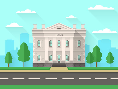 Bank building. Government house with columns exterior financial office in city space. Banking service flat facade background Illustration