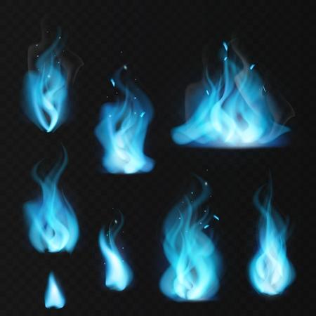 Blue flame. Burning fiery natural gas hot fireplace flames warm fire blazing realistic bonfire effect blue magic flaming set Stock Vector - 124094071