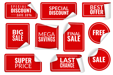 Red stickers curled. Wrapped paper sticker set, price labels sale banners bent edge corner sheets. Advertising badges for consumerism templates