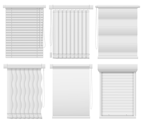 Window blinds. Horizontal, vertical closed and open jalousie. Darkening blind curtains, office room interior elements louvers mock ups