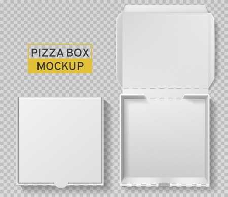 Pizza box. Open and closed pizza pack, top view paper white carton mockup, meal delivery, fast food lunch realistic packaging template