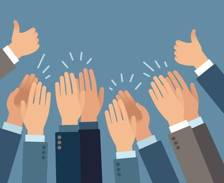 Applause. Hands clapping applause gestures, congratulation audience appreciation success greeting approve flat vector applauding concept