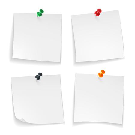 Épingler des notes. Coin recourbé de papiers blancs avec message d'annonce de panneau de bureau de bouton-poussoir coloré épinglé, ensemble de punaise réaliste Vecteurs