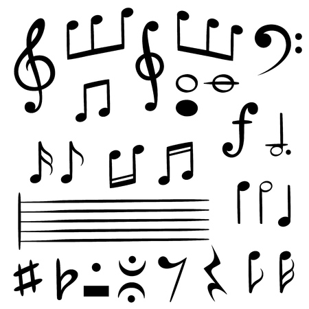 Music notes. Musical note key silhouette, treble clef sound melody art melodist symbols