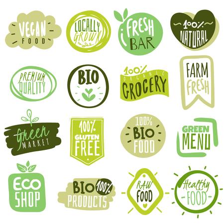 Etichette per alimenti biologici. Adesivi icona di prodotti dietetici freschi naturali pasto sano. Ecologia fattoria eco cibo.